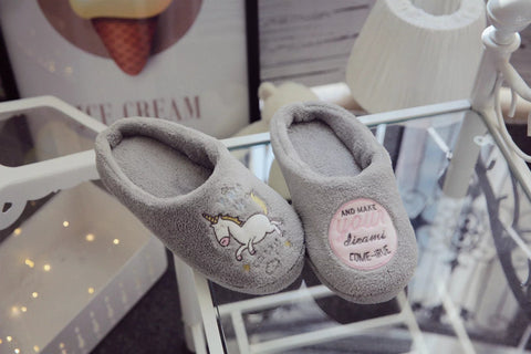 Aeruiy Unicorn embroidery home indoor floor slippers gray