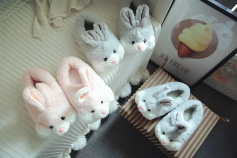 Aeruiy Cozy Bunny Women Men Plush Home Indoor Floor Slippers