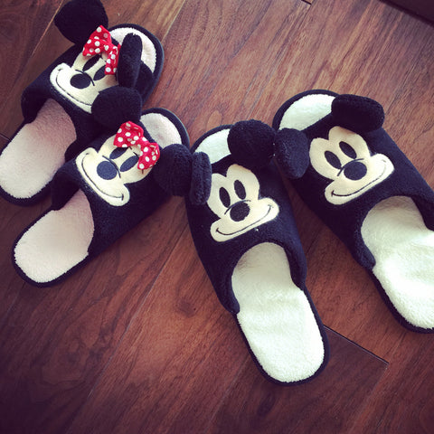 Aeruiy Mickey/ Minnie Adults Plush Home Indoor Slippers
