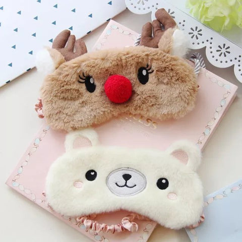 Aeruiy Soft Plush Animal Elk Deer/ Polar Bear Eye Sleep Mask