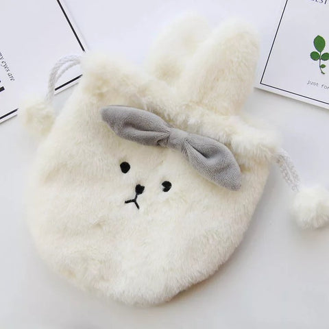 Aeruiy Plush Bunny Drawstring Pouch Pocket