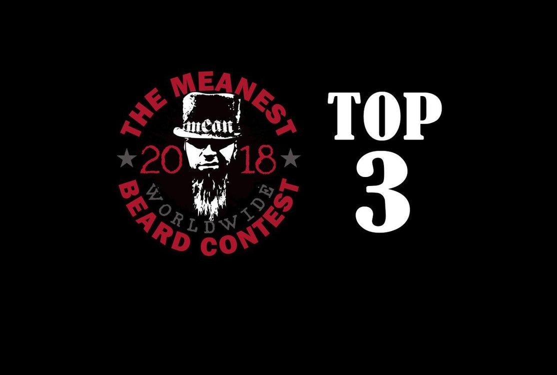 The TOP 3 MEANest BEARDS in the world for 2018. The 2018 MEANest BEARD Worldwide Contest. 141 contestants from 19 countries.  Best beards with a MEAN attitude.  MEAN BEARD Co.