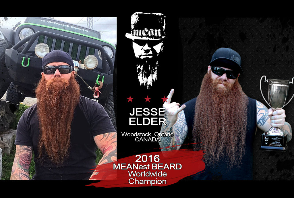 Jesse Elder 2016 MEANest BEARD Worldwide Champion awarded title by MEAN BEARD