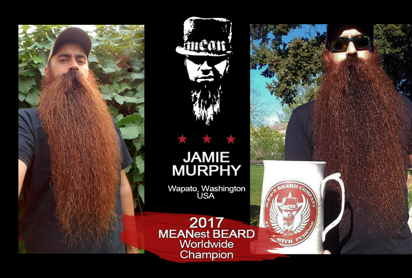 2017 MEANest BEARD Worldwide Contest Champion Jamie Murphy, Wapato, Washington USA - MEAN BEARD Co.