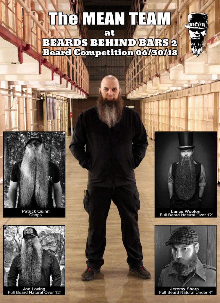 The MEAN TEAM - at Beards behind Bars 2. Barry Stock, Lance Wooton, Patrick Quinn, Joe Loving, Jeremy Sharp.  MEAN BEARD Co. Best beard products MEANest beard oil in the World.