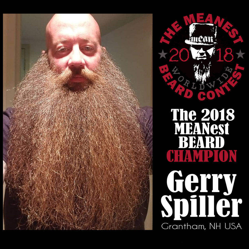 Gerry Spiller - Champion MEANest BEARD. The 2018 MEANest BEARD Worldwide Contest. 141 contestants from 19 countries.  Best beards with a MEAN attitude.