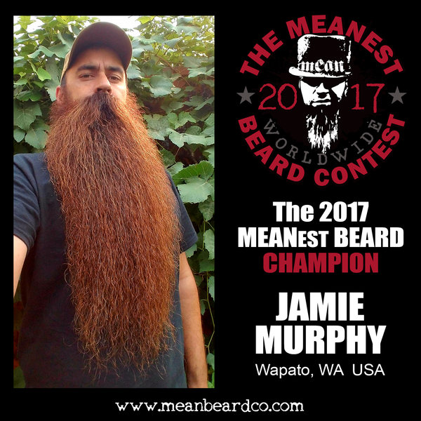 Jamie Murphy - The 2017 MEANest BEARD Champion.  The 2017 MEANest BEARD Worldwide Contest. 126 contestants from 23 countries.  Best beards with a MEAN attitude.  MEAN BEARD Co.