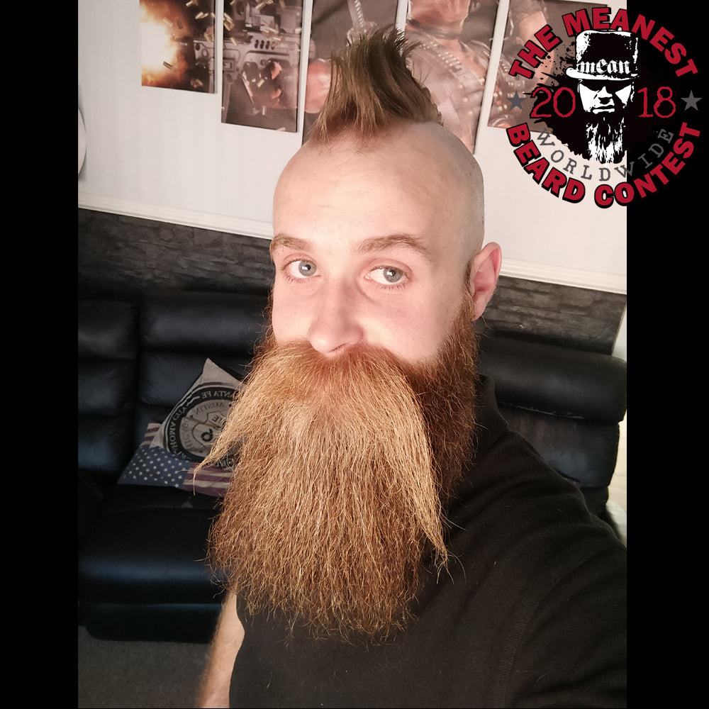Lewis Aylmer - The TOP 12 MEANest BEARDS in the world for 2018. The 2018 MEANest BEARD Worldwide Contest. 141 contestants from 19 countries.  Best beards with a MEAN attitude.  MEAN BEARD Co.