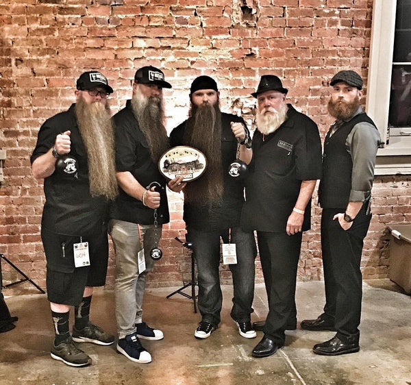 MEAN BEARD Co. MEAN TEAM Patrick Quinn, Joe Loving, Lance Wooton, Taxi Phil and Jeremy Sharp.  Beards Behind Bars beard competion at the Ohio State Reformatory.