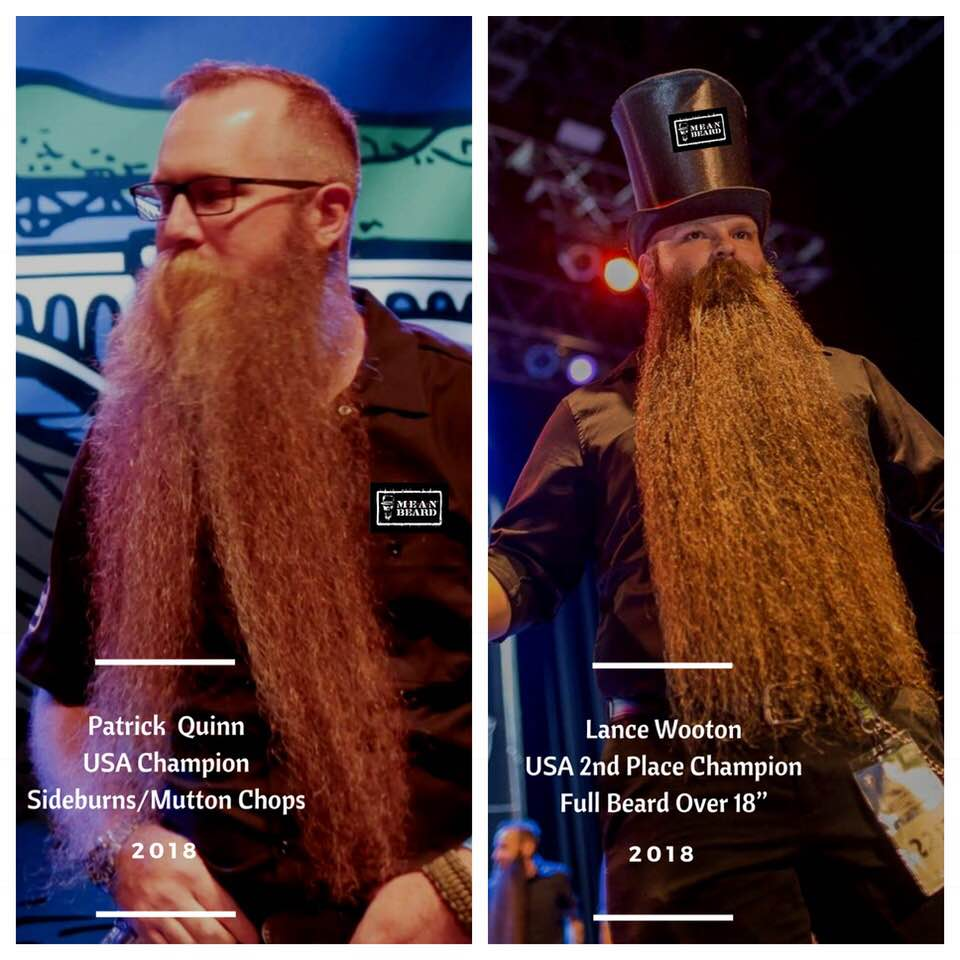 MEAN BEARD Lance Wooton, National 2nd place Champion Full Beard Natural Over 18 inches.  MEAN TEAM at 2018 GABMC