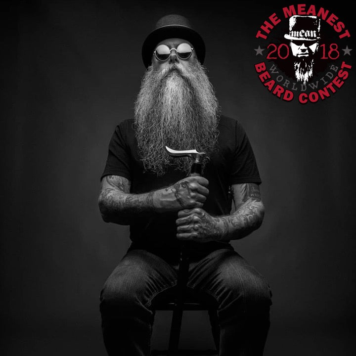 Lee Baldwin - The TOP 12 MEANest BEARDS in the world for 2018. The 2018 MEANest BEARD Worldwide Contest. 141 contestants from 19 countries.  Best beards with a MEAN attitude.  MEAN BEARD Co.