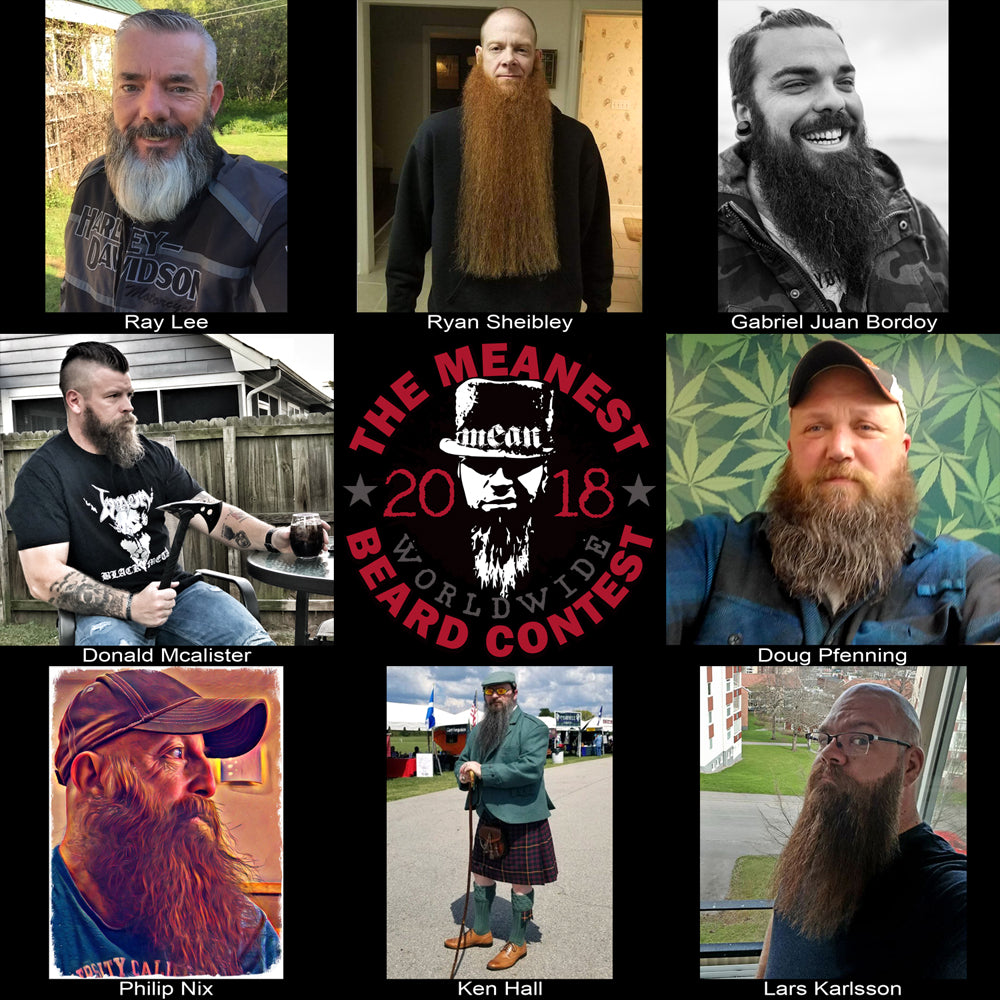Contestants 129 to 136.  The 2018 MEANest BEARD Worldwide Contest.