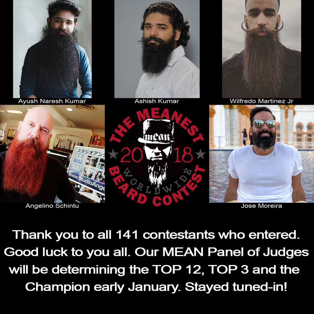 Contestants 137 to 141.  The 2018 MEANest BEARD Worldwide Contest.