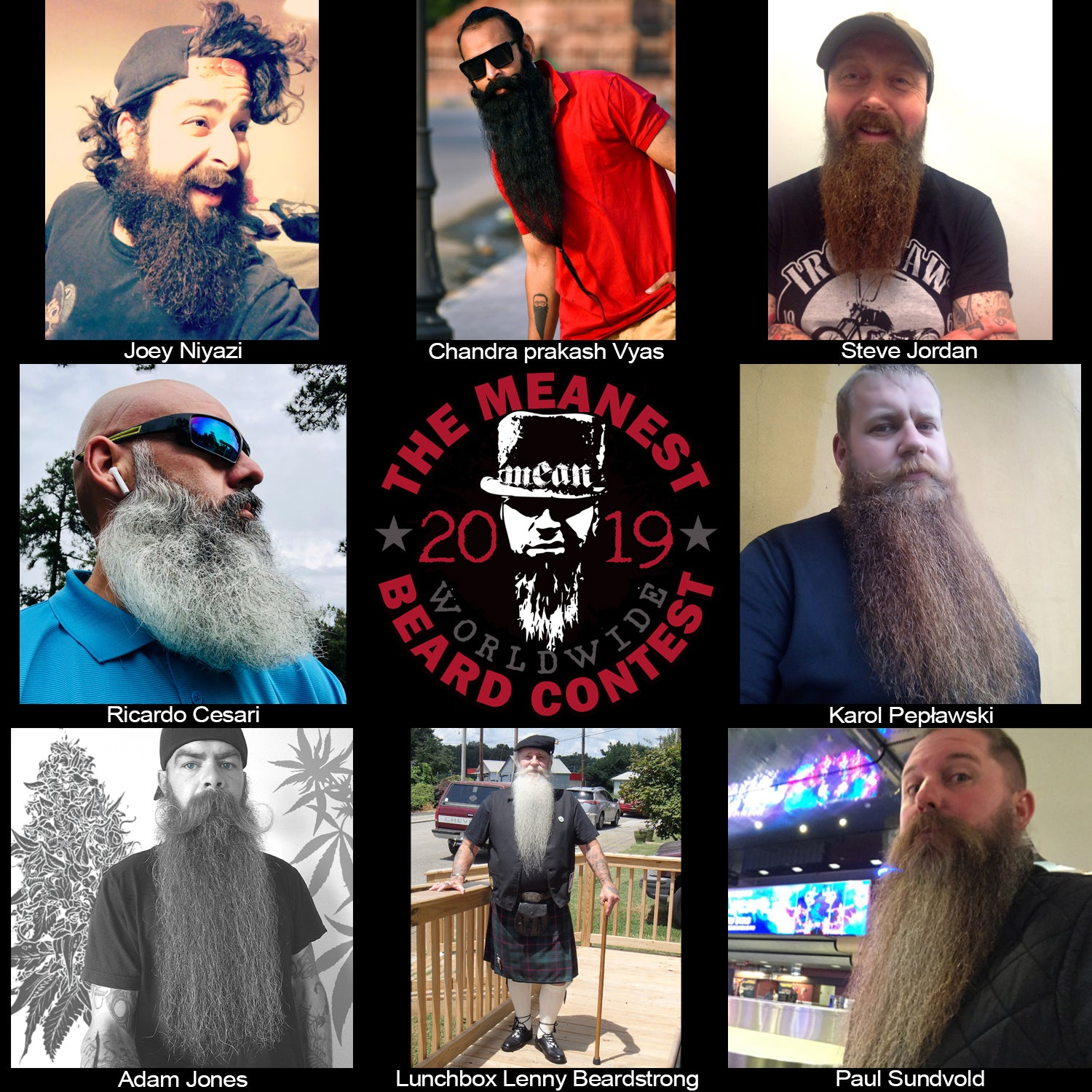 Contestants 9 to16 in the 2019 MEANest BEARD Worldwide Contest