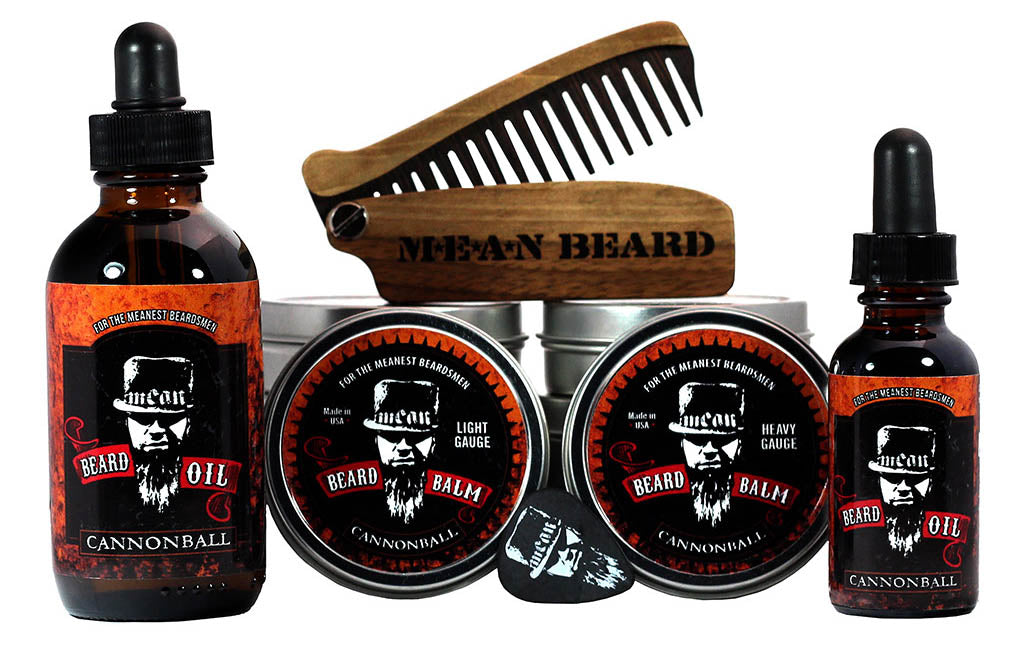 MEAN BEARD Cannonball Collection beard oil and beard balm.  Free MEAN BEARD guitar pick with balm.  This an exceptional beard care line and is the World's MEANest beard oil & balm to help you grow a strong, full, healthy beard. Made in USA.  Best beard oil, best beard products, best beard company.