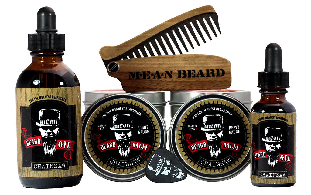 MEAN BEARD Chainsaw Collection beard oil and beard balm.  Free MEAN BEARD guitar pick with balm.  This an exceptional beard care line and is the World's MEANest beard oil & balm to help you grow a strong, full, healthy beard. Made in USA.  Best beard oil, best beard products, best beard company.