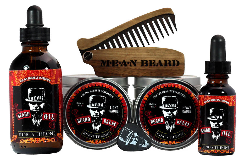 MEAN BEARD King's Throne Collection beard oil and beard balm.  Free MEAN BEARD guitar pick with balm.  This an exceptional beard care line and is the World's MEANest beard oil & balm to help you grow a strong, full, healthy beard. Made in USA.  Best beard oil, best beard products, best beard company.