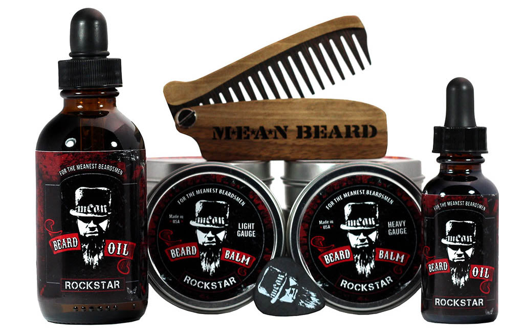 MEAN BEARD Rockstar Collection beard oil and beard balm.  Free MEAN BEARD guitar pick with balm.  This an exceptional beard care line and is the World's MEANest beard oil & balm to help you grow a strong, full, healthy beard. Made in USA.  Best beard oil, best beard products, best beard company.