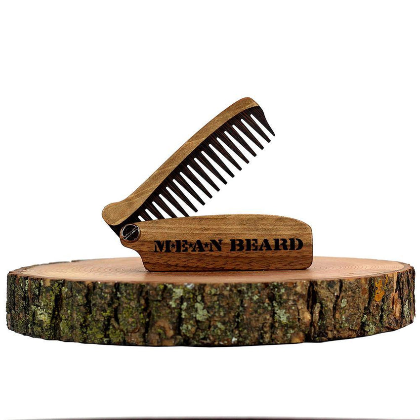 MEAN BEARD Walnut & Wenge Wood Folding Pocket Beard Comb