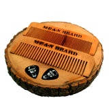 MEAN BEARD Torch-branded Coffee or Tobacco Infused Medium Tooth Wood Beard Comb