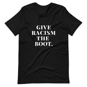 Open image in slideshow, give racism the boot charity tee