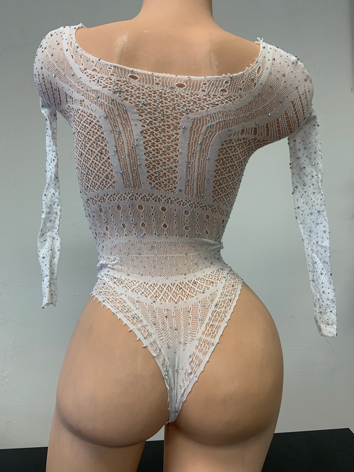 Mesh Rhinestone Bodysuit - Exotic Dancewear - Stripper Outfits