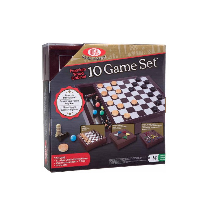 Drinking Game Collection - 10 Game Set with Premium Wood Cabinet