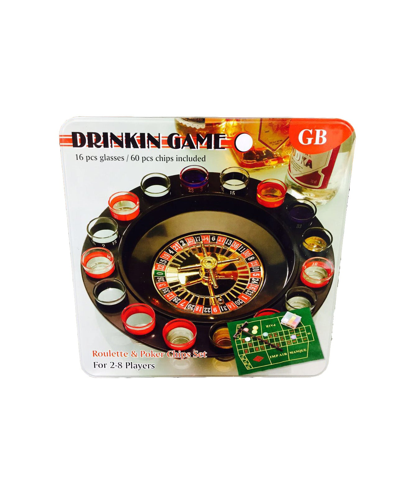 Drinking Game Collection - 16 Shot Glass Deluxe Roulette & Poker Chips Set
