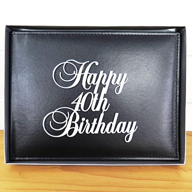40th Birthday Guest Book Leather Cover