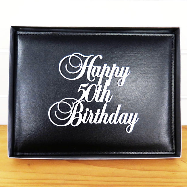 50th Birthday Guest Book Leather Cover