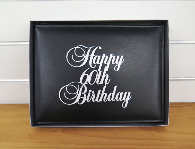 60th Birthday Guest Book Leather Cover