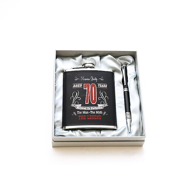 70th Birthday Hip Flask