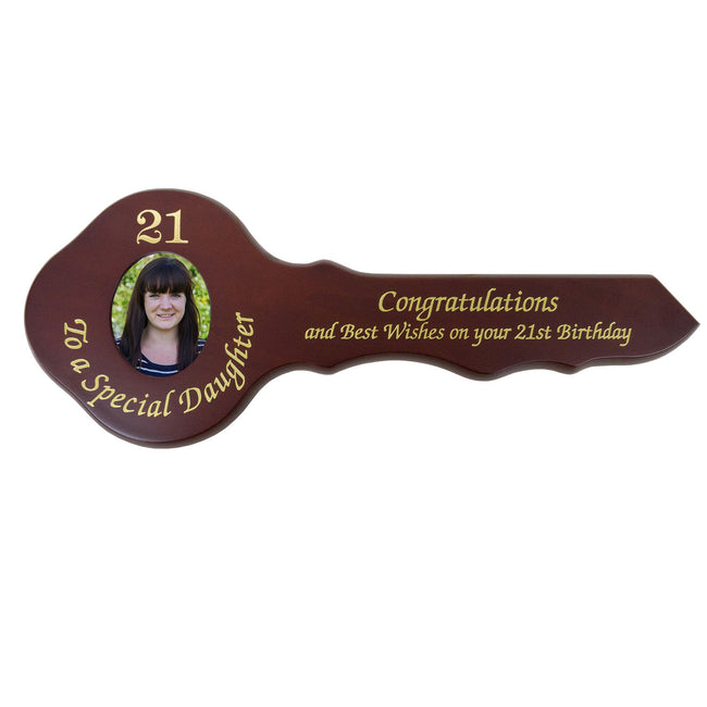 21st Wooden Key - Wooden Photo To A Special Daughter