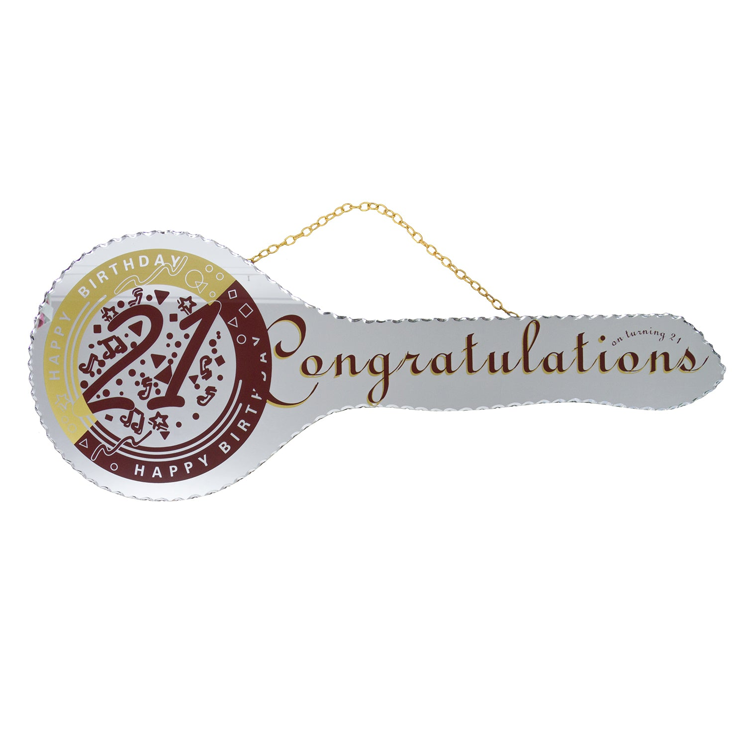 21st Mirrored Key - Red Congratulations