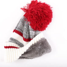 Kid's Striped Toque with Red Pompom