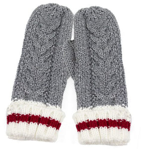 Cable Knit Grey Mittens