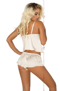 White camisole and shorts lingerie set back view