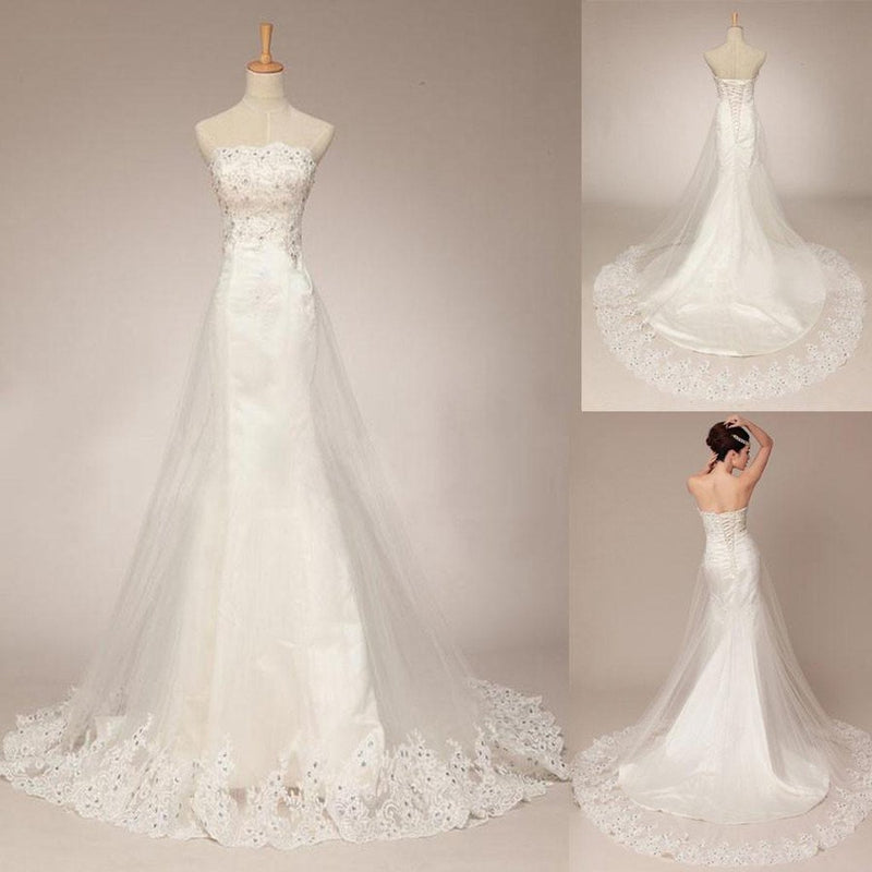 Affordable Lace Strapless Pretty Mermaid Wedding Dresses with Short ...