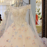 Off the Shoulder Lace Rhinestone Wedding Dresses,2017 New Arrival Bling Affordable Bridal Dresses with Watteau Train,220005