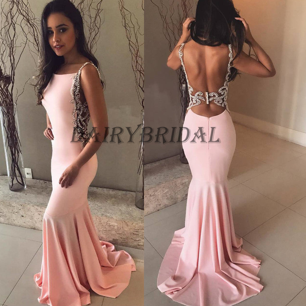 Backless Prom Dress, Beaded Prom Dress, Jersey Prom Dress, Mermaid Prom Dress, Sexy Prom Dress, D106