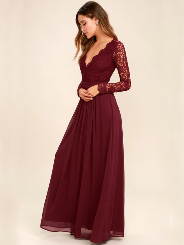 Inexpensive Long Sleeve Burgundy V-Neck Lace Opren-Back Bridesmaid Dresses, D1082