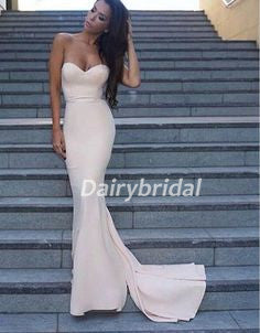 Sweet Heart Mermaid Prom Dress, Soft Satin Prom Dress, Backless Sexy Prom Dress, D108