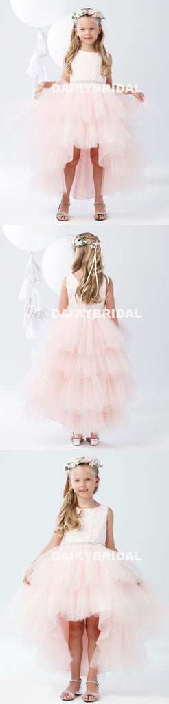 Pink High-Low Tulle Lace Top Flower Girl Dresses, Lovely Tutu Dresses,  D1141
