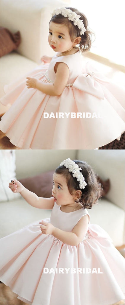 Pink Satin Flower Girl Dresses, A-Line Beaded Popular Little Girl Dresses, D1178