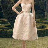 Pale Pink Sweetheart Knee Length Cute Lace Beaded Wedding Party Dresses, WD0117