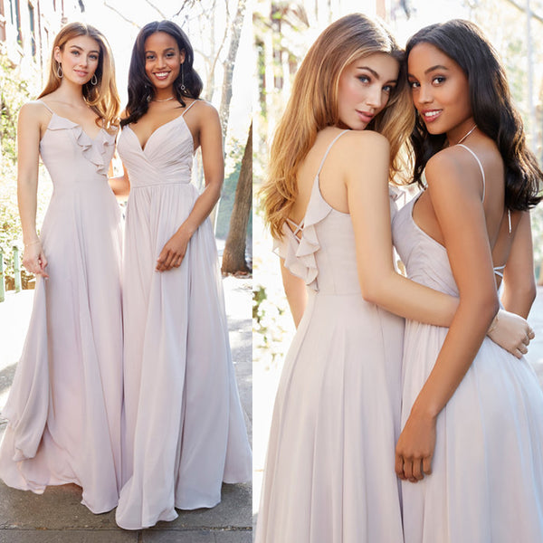 Mismatched Bridesmaid Dress, Spaghetti Straps Bridesmaid Dress, Chiffon Bridesmaid Dress, Floor-Length Bridesmaid Dress, Cheap Bridesmaid Dress, D117