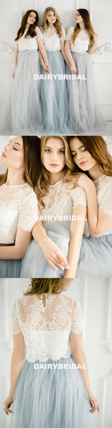 Mismatched Lace Top A-Line Two Pieces Long Cheapest Tulle Bridesmaid Dresses, D1185