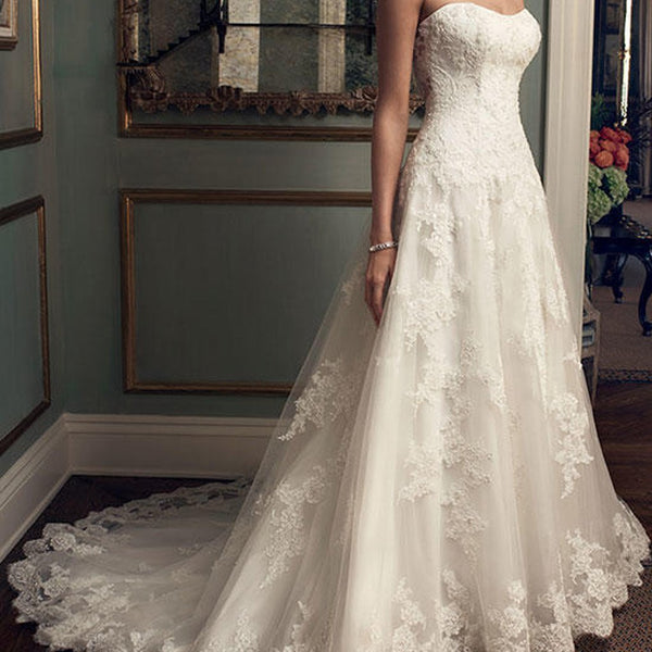 Sweetheart Long A-line White Lace Gorgeous High Quality Wedding Party Dresses, WD0119