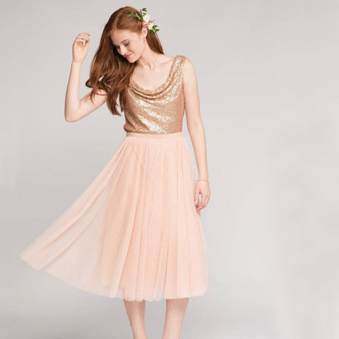 Sparkle Sequin Top Bridesmaid Dress, A-Line Tulle Tea-Length Cheap Bridesmaid Dress, D1236