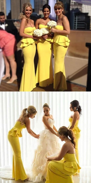 Yellow Sweetheart Nekline Backless Mermaid Jersey Bridesmaid Dresses, FC1268